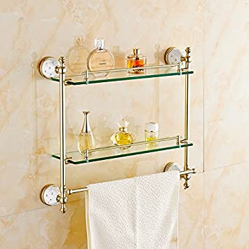 AUSWIND European Polished Gold Brass Bathroom Shelves Diamond Ceramic  Decorate Glass Shelf 23 Inch Wall Mounted