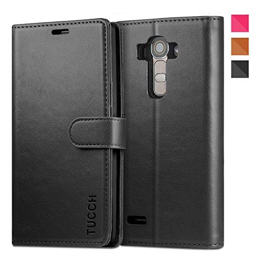 LG G4 Hülle, TUCCH Schutzhülle LG G4 Tasche Leder Case mit Kartenfach Aufstellfunktion Magnetverschluss, Schwarz (Nicht für LG G4c/G4 stylus/G4s/LG Spirit)