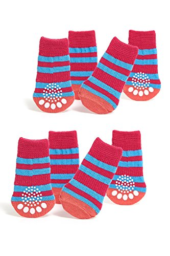 - Toy / Small Dog Non Slip 2 sock packs (8 pcs) For Yorkie Pom Maltese Chihuahua (Small Plus Size, pink, blue, striped)