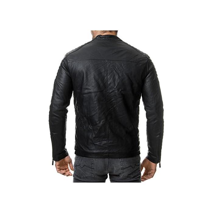 51BcI5qSZAL Elegante chaqueta de cuero sintética para Hombres de la marca Red Bridge Chaqueta fresca con área acanalada a lo largo de las mangas 100% Poliuretano; Forro: 100% Poliéster