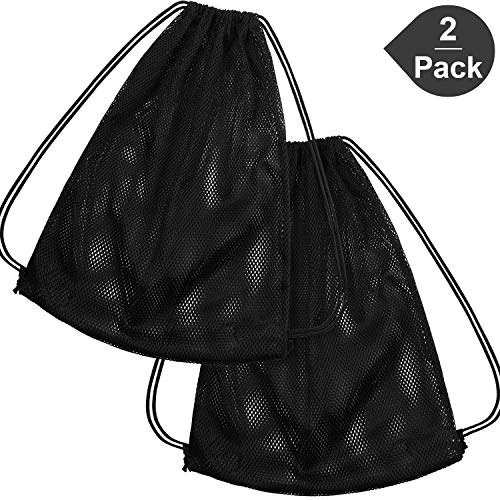 Mesh Drawstring Backpack Bag Mesh Equipment Bag Black String Bag Multi Functional Bag with Drawstring Shoulder Straps for Sport, Gym, Training, Swimming, Beach, Diving (2 Pack, Black)
