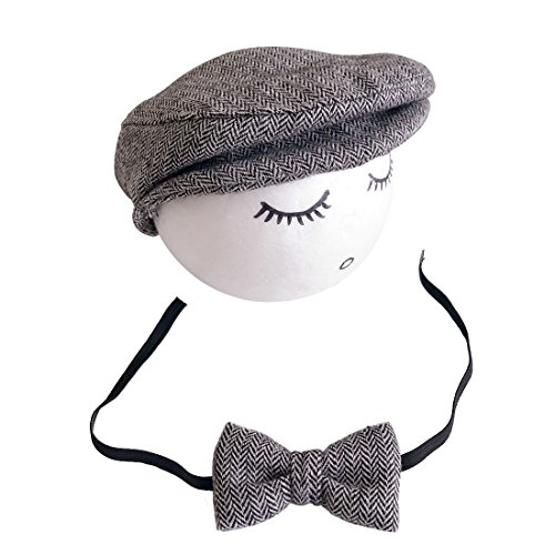 Baby Boys Photography Props Flat Caps Monthly Photo Shoot Outfits Infant Flat Cap Gentleman Hat Bowtie for 0-1 (Pregnant Costume Basketball)