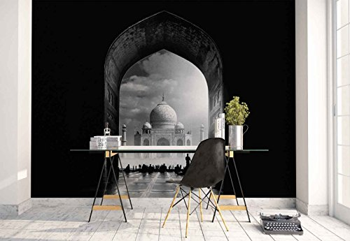 Photo wallpaper wall mural - Taj Mahal India - Theme Travel & Maps - XL - 12ft x 8ft 4in (WxH) - 4 Pieces - Printed on 130gsm Non-Woven Paper - 1X-550360V8 by Fotowalls Photo Wallpaper Murals
