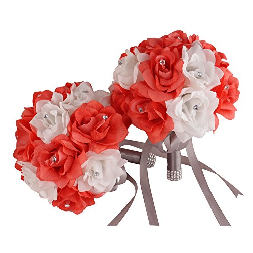 """2 Bouquets (8"""")-coral White with Gray Ribbon-rhinestone a..."""