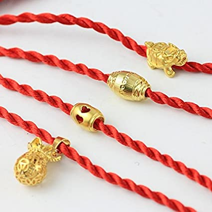 Amazon Com Fake Gold Transfer Beads Natal Red String Bracelet