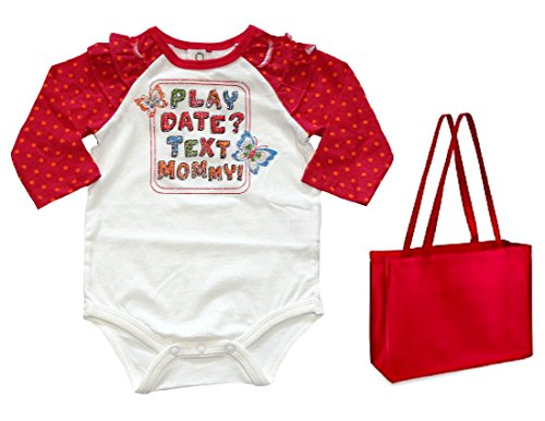 Okie Dokie Baby Girls' Play Date? Text Mommy! Bodysuit & Tote - 2 Piece Set (6 Months)
