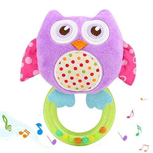 YLLuck Owl Baby Toys, Infant Developmental Hand Grip Baby Rattle Cute Stuffed Animal with Sound for 3 6 9 12 Months and Newborn Gift