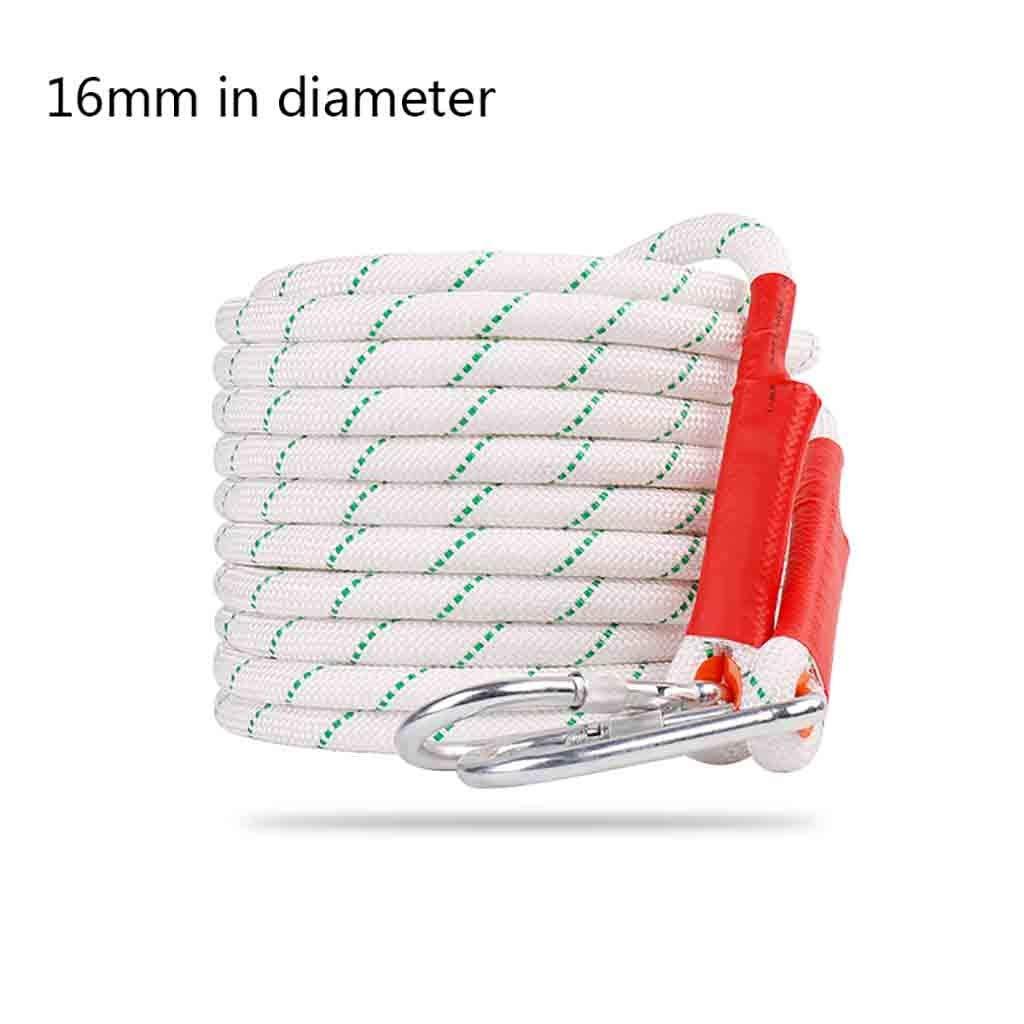 クライミングハーネス 太い16 mmポリエステル屋外ロープ、2400 kgの白い安全ロープ、スチールワイヤー耐摩耗性ポリエステルの内側のコアに耐えることができます。 (Color : 60 meters) 60 meters