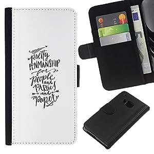 EJOY---La carpeta del tirón la caja de cuero de alta calidad de la PU Caso protector / HTC One M9 / --Caligrafía Mano Texto Escrito