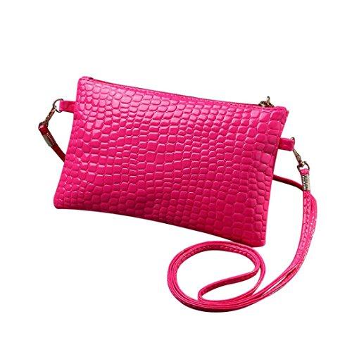 Women Girl Mini Leather Clutch Handbag Small Crossbody Purse Cellphone Bag Satchel Pouch (Hot pink) Weekender Cross Body
