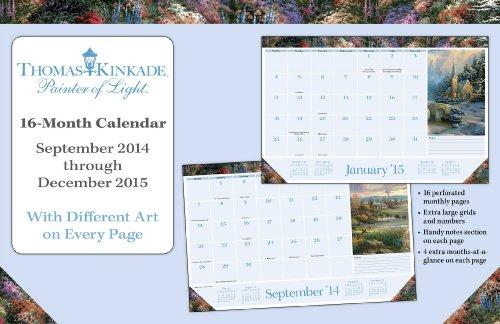 Thomas Kinkade Painter Of Light 2014-15 16-Month Desk Pad Calendar