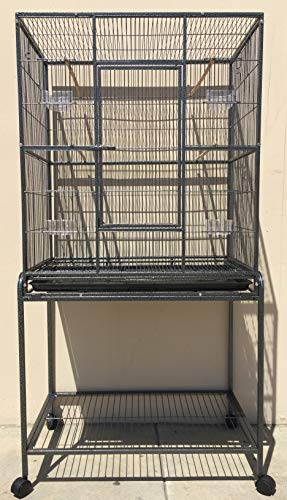 Mcage Large Wrought Iron Flight Breeding Canary Parakeet Cockatiel Lovebird Finch Bird Cage with Removable Stand, 32-Inch by 19-Inch by 64-Inch (32