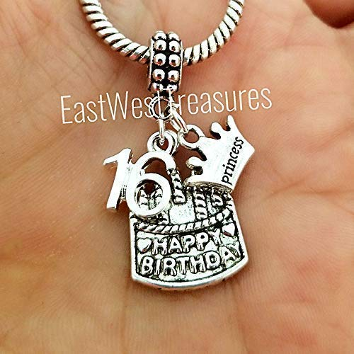 9a8524282a5 Image Unavailable. Image not available for. Color  Sweet 16 16th birthday  cake jewelry gift for her-sweet 16 charm bracelets and necklaces