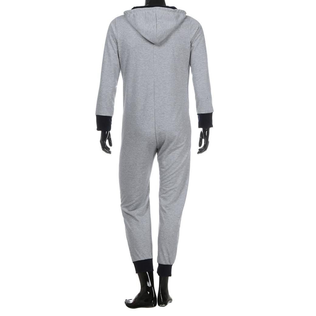65b523a674 Amazon.com   GBSELL Fashion Men One Piece Hooded Long Sleeve Snow Print Zip  Long Trousers Jumpsuit Pajamas (Gray