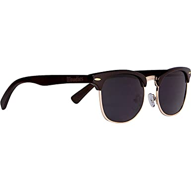 efb27cdf59 Amazon.com  WOODIES Half-Rim Ebony Wood Sunglasses with Black ...