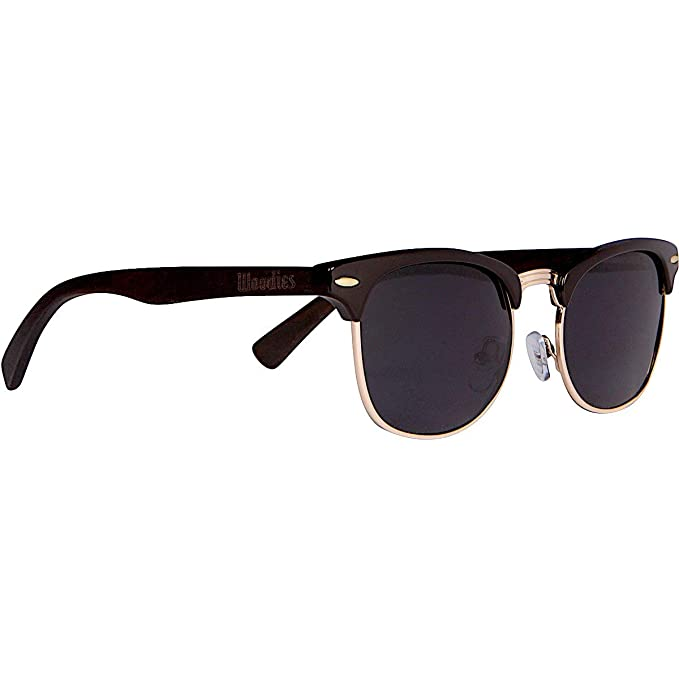 Woodies Half-Rim Ebony Wood Sunglasses with Black Polarized Lenses