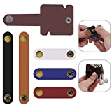 6 pcs Cord Organizers, SENHAI Leather Cable Ties Earbud Holder Earphone Wrap Key Chain Cable Winder Manager-Random Color
