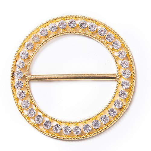 Large Ornate Diamond Circle Decorative Buckle In Gold - DECOSTAR ()