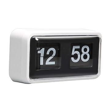NS Retro Flip Números Reloj Cuarzo Vintage, Sobremesa Estilo Exquisito Y Artístico Maquinaria Interna (Blanco/Negro) (Color : Blanco): Amazon.es: Hogar