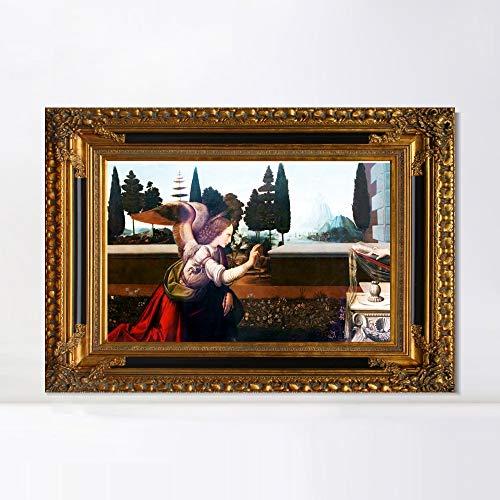 (INVIN ART Framed Stretched Canvas Artwork,Detail of The Annunciation by Leonardo da Vinci, Giclee Print Painting Wall Art Decor for Restaurant,Hotel,Bar(Antiqued Gold Frame,28