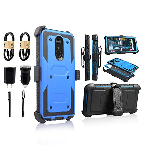 (LG Stylo 4 Rugged Case, [360 Degree Protection] [Kick-Stand] Full-Body Heavy Duty Case with [Built-in-Screen Protector] [Belt Clip Holster] for LG Stylo 4 [Value Bundle] (Bl))
