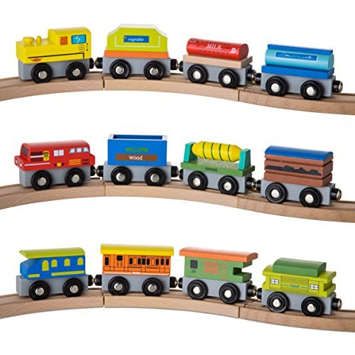 kidzzy toys 12 Pcs wooden railway trains set works with all major brands of magnetic train cars