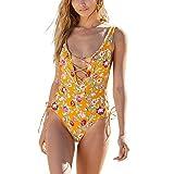 ROPALIA Women's Summer Beach Bikini Strap deep V one-Piece Swimsuit High Leg Hollow