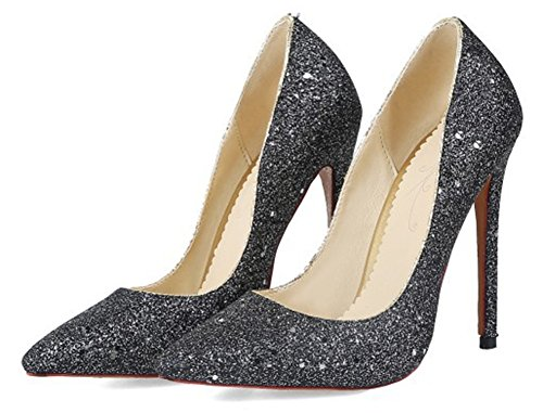 Aisun Donna Scintillante Paillettes Da Sera Party Dressy Low Cut Scarpe A Punta Stiletto Con Tacco Slip On Pumps Shoes Nere