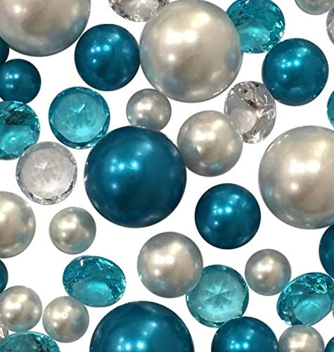 (120 NO Hole Blue Turquoise & White Pearls & Matching Gems - Jumbo/Assorted Sizes Vase Decorations & Table Scatters - to Float The Pearls Order The Floating Option from Size Menu Below)
