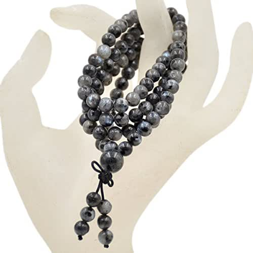 AD Beads Natural Gemstones Buddhist 108 Prayer Healing Beads Mala Stretchy Bracelet Necklace 6mm (Larvikite Labradorite)