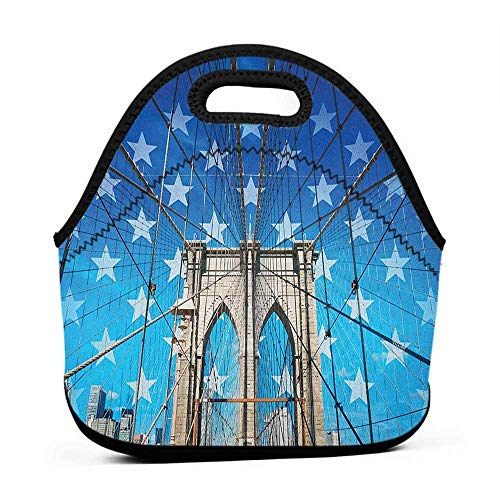 Travel Case Lunchbox with Zip New York,NYC Bridge with Stars Home to the Empire States Building Times Square Other Sites, Blue Grey,lunch bag for women with ice pack