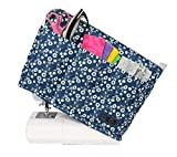 Everything Mary Blue Flower Quilted Sewing Machine Cover - Dust Cover Protector That Fits Most Standard Brother & Singer Machines - Collapsible with Storage Pocket