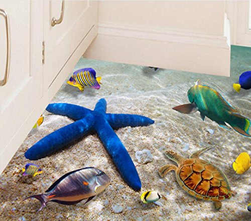 (Sticker 3D Beach Floor Wall Stickers Removable Mural Wall Decals Vinyl Art Living Room Decors Bravetoshop (A))