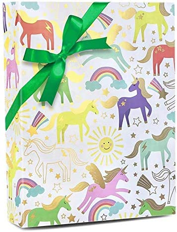 X//Large 2M x 70cm Flat Sheet Christmas Gift Unicorn Wrapping Paper /& 2 Gift Tags