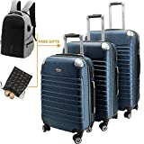 Hard Shell Luggage Set TSA Spinner Suitcase Lightweight Carry On 3 Piece (20'' 24'' 28'') Blue