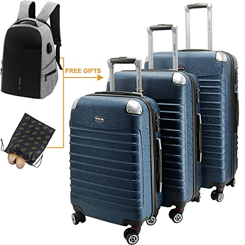 Hard Shell Luggage Set TSA Spinner Suitcase Lightweight Carry On 3 Piece (20'' 24'' 28'') Blue by Travel Joy