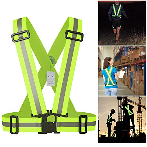 (Shinecailife Adjustable Safety Reflective Vest,for Running,Construction,Cycling,Walking.Wear Elastic,High Visibility Reflective Vest,Safety Night Running,Walking,Construction for 3XL-5XL Men,Women)