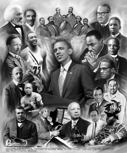 Great African American Men by Wishum Gregory, Obama  King  Malcolm X  Marshall  (20x24)