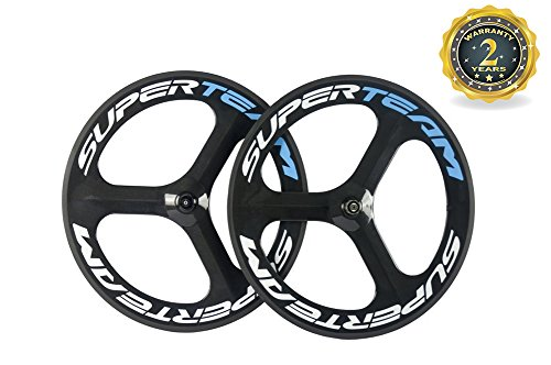 Superteam 70mm Carbon Fiber Tri Spoke Wheelset Road Bike 3 Spokes Wheel (Carbon Fiber Spokes)