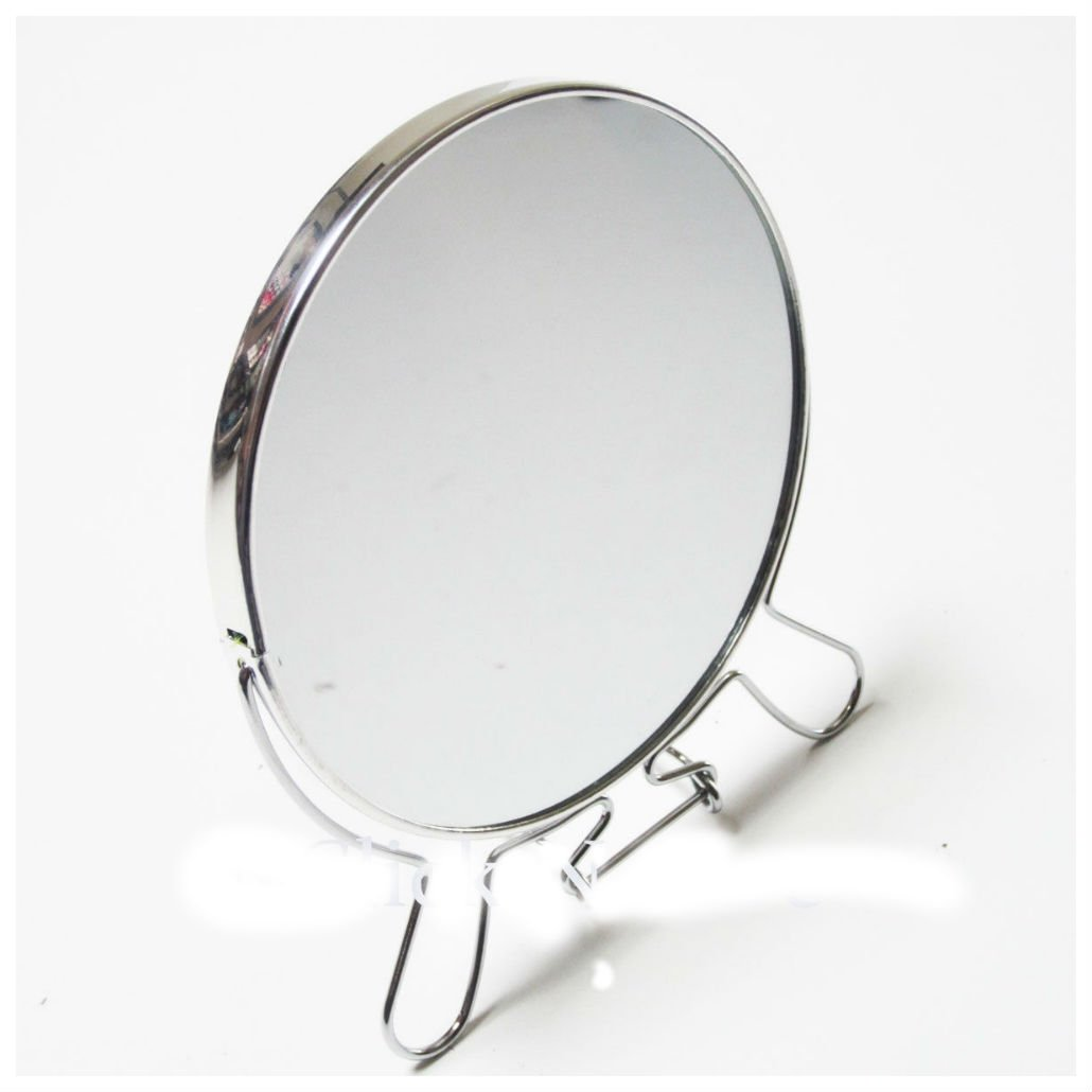 Silver Tone Plated Round Shaped Two-Side Hangable Mirror With Stand 5.5'' Mirror