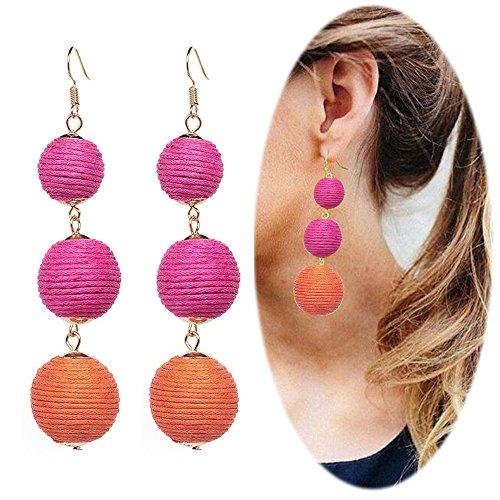 Thread Ball Dangle Earrings Tassel Drop Earring Beaded Lantern Ear Studs Women Linear Tribal Charms Jewelry Rose Rose Orange Mixed