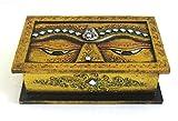 Buddha Wooden Jewelry/Trinket/keepsake/Storage Box, Hand Painted Buddha Eyes Trinket Box, Mosaic Glass Decorative Box - OMA BRAND