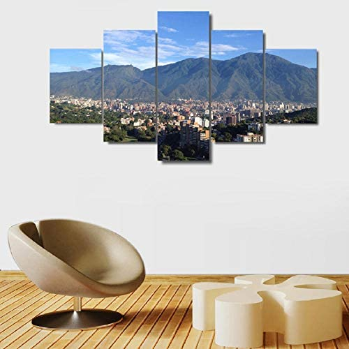 Dskjn 5 Piece Canvas Wall Decorations s Avila Caracas Mountain Print Painting Wall Art Poster Modern Home Decor Living Room Pictures work-200x100cm-Frame