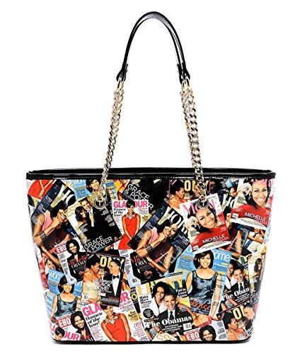 Shopper Leather Patent Bag (Glossy Magazine Cover Collage Shopper Satchel Handbag Michelle Obama Purse (Multi/Black))