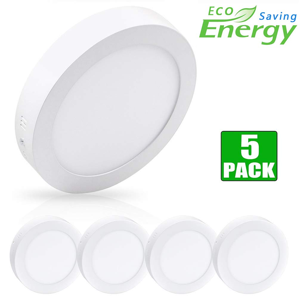 """5Pack W-LITE LED Flush Mount Ceiling Light-24W 11.81"""" Surface Mounted Down Lights, 6000K Cool White, Round Lighting Fixture for Kitchen, Closet, Hallway, Stairwell, Dining Room"""