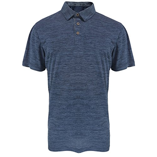Mens Golf Polo Shirts Quick Dry Tennis Tops Slim Fit Short Sleeve Active Sport Athletic Clothing Navy L (Polo Sport Clothing)