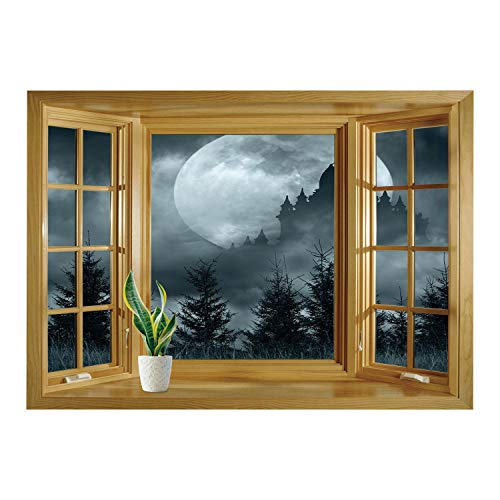 Magic Wagner Wall (SCOCICI Removable Wall Sticker/Wall Mural/Halloween,Magic Castle Silhouette Over Full Moon Night Fantasy Landscape Scary Forest,Grey Pale Grey/Wall Sticker Mural)