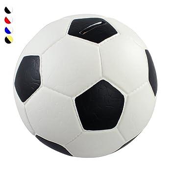 835eda3757fd8 HMF 4790-01 Spardose Fußball Lederoptik 15 cm Durchmesser, schwarz weiß