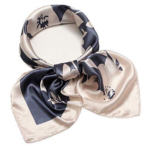 Silk Like Scarf Large Square Satin Headscarf Flower Hair Neck Scarfs for Women ()