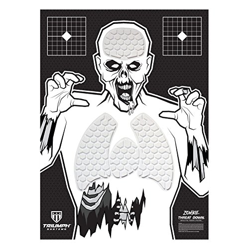 Triumph Systems Threat Down Zombie Silhouette - Reactive Target - Shooting Target - Reactive Splatter Cells - Air Rifle, Pistol, Shotgun, Throwing Knives - Target